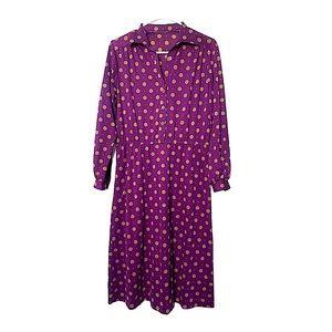 Vintage 80s Purple Floral Secretary Dress size S M 26-28 waist Blouson Button Down Shirt Dress